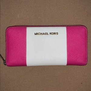 Michael Kors Pink & White Leather Wallet